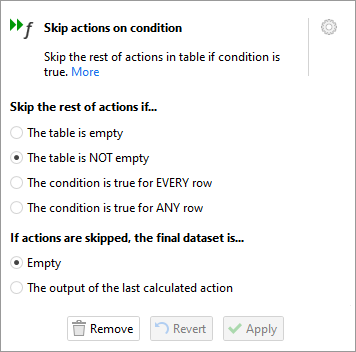 Skip actions on condition